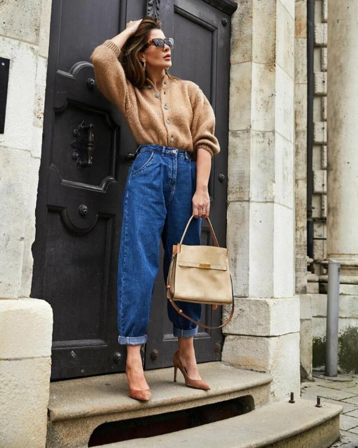 джинси з кардиганом