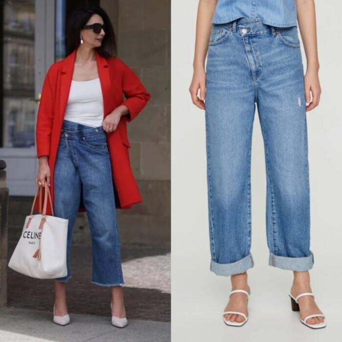 косий гульфик на джинсах